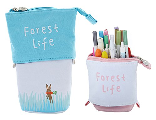 iSuperb Canvas Creative Cartoon Telescopic Stationery Stand Up Pencil Case Cute Pouch Pen Case Desk Pencil Holder Cosmetic Makeup Organizer Bag Forest Series with Zipper Closure (Blue)