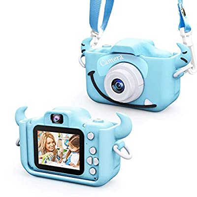 Kids Camera for Boys and Girls, Digital Dual Camera 2.0 Inches Screen 20MP 1080P Video Camcorder Anti-Drop Children Cartoon Selfie Camera for Birthday 32GB Memory Card Included