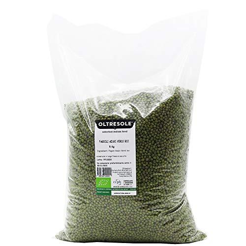 Oltresole - Fagioli Azuki Verdi Biologici 5 Kg - legumi secchi bio da coltivazione controllata, ottimi per preparare zuppe, insalate o altre ricette vegane o vegetariane, confezione convenienza