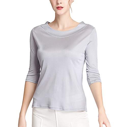 DISSA Einfarbig Damen Seiden Bluse Seidentop Große Größen Rundhals Ohne Arm Seiden Top,BS20036,Grau,XXL