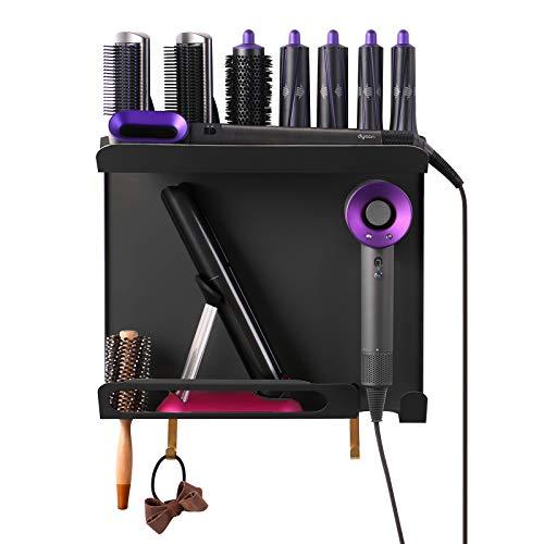Kyr Soporte de pared 3 en 1, compatible con Dyson Airwrap Styler, rizador de pelo, accesorios para secador de pelo Dyson Supersonic y alisador de pelo Dyson Corrale (negro)