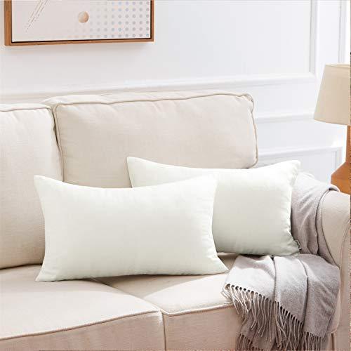 Topfinel Funda Cojin Lino Algodon 100% Natural Decoracion Suave Jardin Sofa Silla Sala de Estar Dormitorio Color Simple Niño 2 Piezas 30x50cm Crema