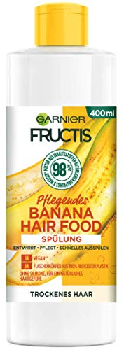 Garnier Fructis Hair Food Spülung, Pflegende Banana, vegane Formel, für trockenes Haar, 400 ml