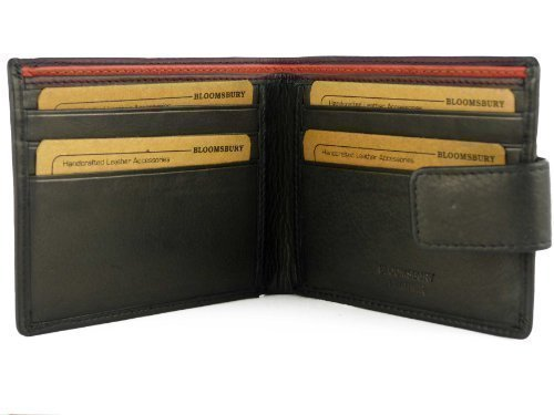 Heren Gents Top Kwaliteit Zwart Lederen Portemonnee door BLOOMSBURY geleverd in GIFT BOX