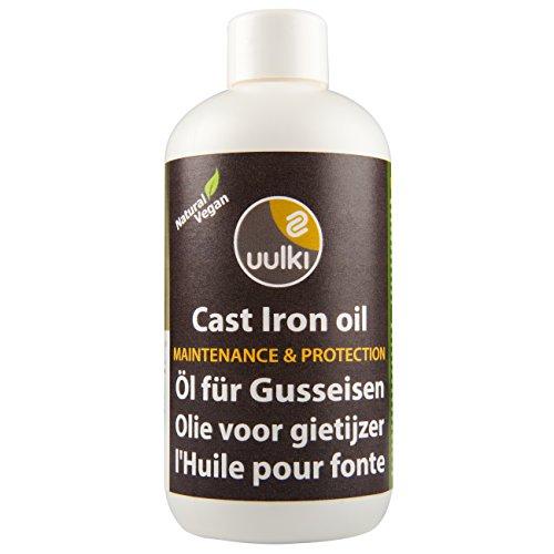 Uulki Natürliches Öl zum Einbrennen von Gusseisen | Pflege für Bratpfanne Grillpfanne Dutch Oven Feuertopf | bildet eine exzellente Patina (250 ml)
