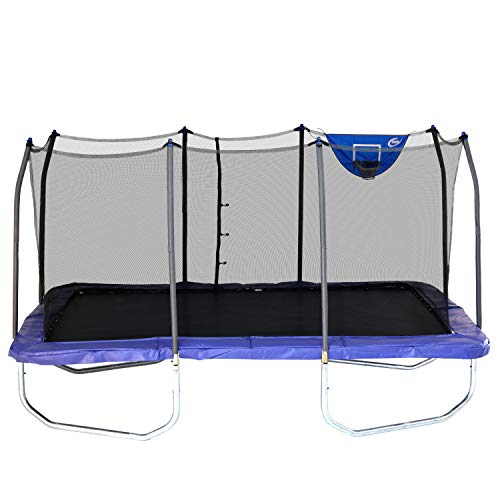 Skywalker Trampolines 15-Foot Rectangle Trampoline with Enclosure Net & Basketball Hoop - Blue