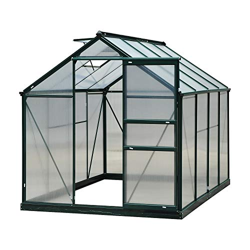 Outsunny Clear Polycarbonate Greenhouse Large Walk-In Green House Garden Plants Grow Galvanized Base Aluminium Frame w/Slide Door (6 x 8ft)
