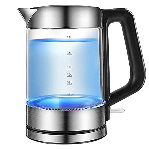 Qinmo Kettle, bouilloire électrique de verre de 1,8l, bouilloire d'eau écologique de 1800W avec LED éclairé, chaudière à eau sans fil sans fil BPA avec couvercle intérieur et bas en acier inoxydable,