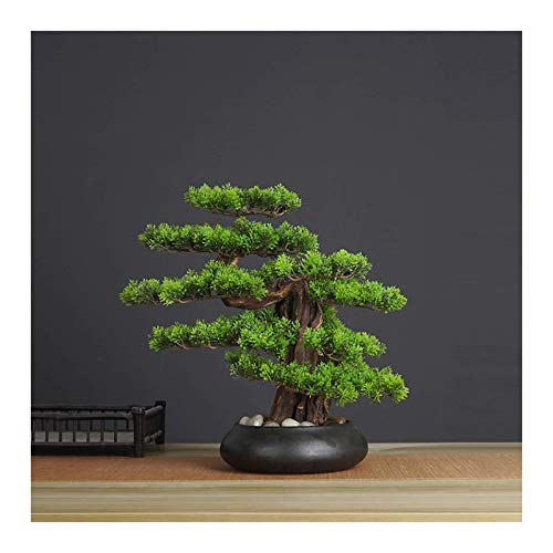 HYRGLIZI Artificial Plants Fake Bonsai Tree Artificial Bonsai Welcoming Pine Tree Simulation Potted Plant Decorative Bonsai, Desk Display Fake Tree in Ceramic Pot for Home, Office, Shop Decorative Gi