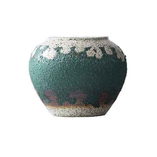 DENGSHENG SHOPS Blumentopf eingelegt mit kupfergrüner Rostglasur des Goldrandes antiker Bodenvasen-Porzellandekoration chinesisches klassisches keramisches kreatives handgemachtes Jingdezhen