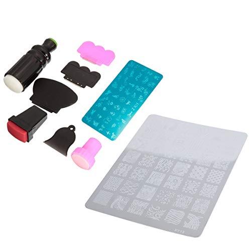 Huante 1 Set Gummistempel-Set zum Stempeln von Nägeln, Nagelkunst, Raclette, Nagelschaber und 1 Stück Nagelstempel-Drucker, Maniküreplatte, Nageldekor, Stempel, Bildplatte XY13