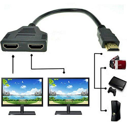 HDMI 1080P Splitter 1 Eingang Stecker auf 2 Ausgang Buchse Kabeladapter Konverter, Stecker auf Dual HDMI 2 Buchse Kabel, Signal Eins in, Zwei aus