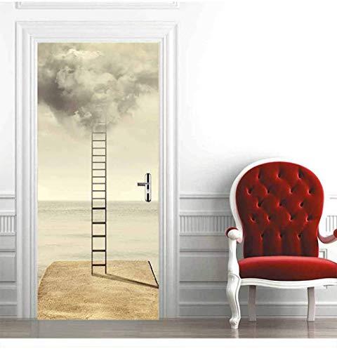 WIGGONJDW Etiqueta de la Puerta,La Puerta de la Escalera la Pared de la habitación Autoadhesivo Pegatinas Pegatinas Pegatinas extraíble Resistente al Agua