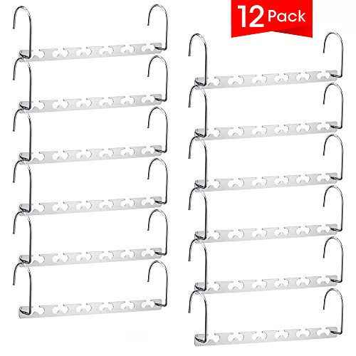 Meetu Space Saving Hangers Multifunctional Clothes Hangers Stainless Steel 6X2 Slots Magic Hanger Cascading Hanger Updated Hook Design Closet Organizer Hanger (Pack of 12)