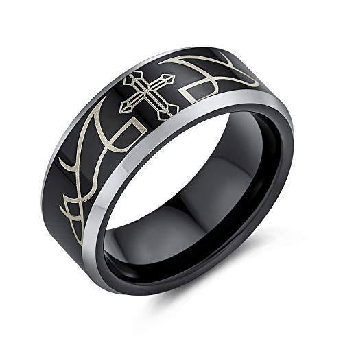 Bling Jewelry Grabado con Láser Religiosa Católica Cristo Negro Espina Cruz Banda Anillo De Tungsteno para Los Hombres 8Mm Ajuste