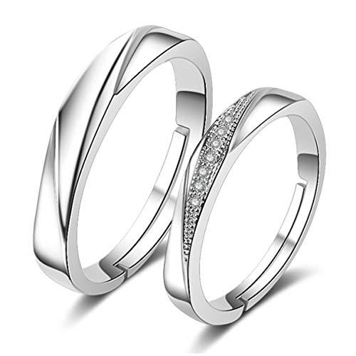 Richapex Anillos de Brilliant Cubic Zirconia Plata y Ley 925 Compromiso Casado Anillo Mujeres Hombres Anillos de Pareja ,Regalo para el día de la Madre