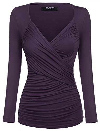 Zeagoo Damen V-Ausschnitt Langarmshirt Tunika Bluse Obertail T-Shirt mit Rüschen Lila- EU 42(Herstellergröße:XL)