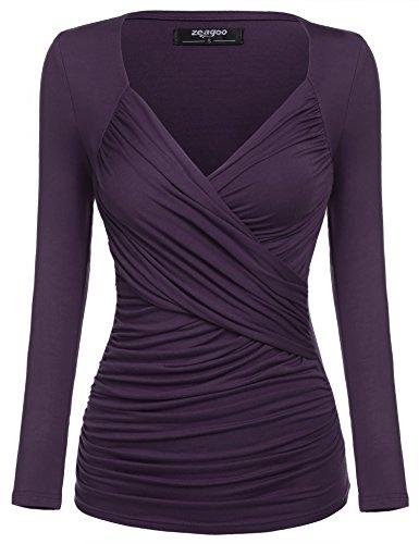 Zeagoo Damen V-Ausschnitt Langarmshirt Tunika Bluse Obertail T-Shirt mit Rüschen Lila- EU 38(Herstellergröße:M)