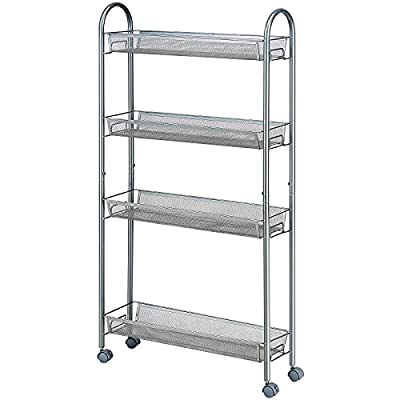 SINGAYE 4 Tier Slim Rolling Cart Kitchen Storag...