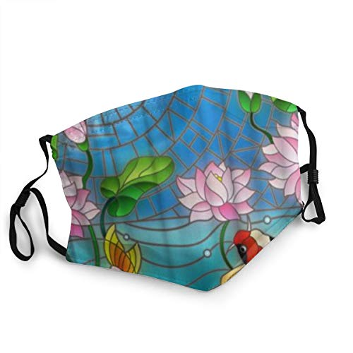 Bandana riutilizzabile a mezza faccia,Pittura a inchiostro Koi Koi Fish Lotus Mosaic,Coprivaso sportivo regolabile