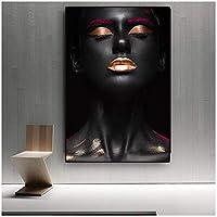 ヌードアフリカの女性インドのポスターとプリントキャンバス絵画黒と金スカンジナビアの壁アートリビングルームの写真-60x100cmx1フレームなし