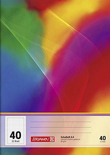 Brunnen 104434202 Schulheft A4 (32 Blatt, 5 mm kariert, mit Rand, Lineatur 40)