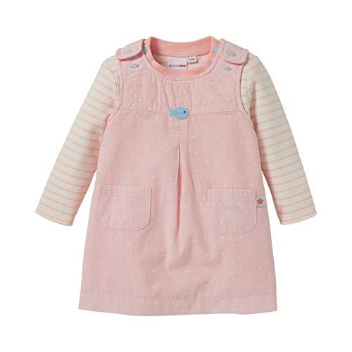 Bornino Ensemble 2 pièces robe en tissu + T-shirt à manches longues ensemble bébé, écru rayé/rose