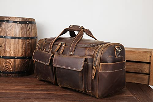 polare 22.8″ duffel retro thick full grain cowhide leather gym weekender overnight luggage bag