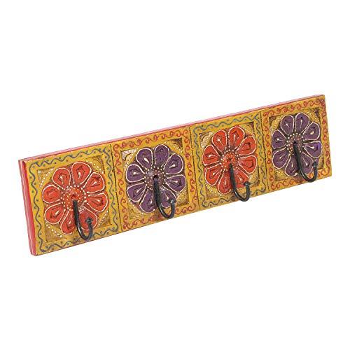 | Perchero oriental Antara B pintado a mano con 4 ganchos 46 x 6 x 11,5 cm WxDxH de madera maciza | perchero de pared con hermosos dibujos de flores | MA13 04 B