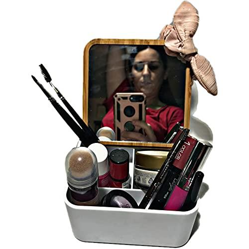Caja Maquillaje / Joyero con Espejo Tapa de Bambú | Maletín Blanco Organizador Mujer / Niña con 3 Espacios para Guardar Cosméticos Joyas Pintauñas y todo Tipo de Accesorios