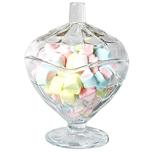 Decorativo Tarro De Almacenamiento Para Dulces Nuez Frutos Secos Buffet Boda Casa Decoración,Elegante Cristal Organizador De Caramelos,Vidrio Bombonera Tarros De Boticario Con Tapa-Claro 11.2x14.9cm(4