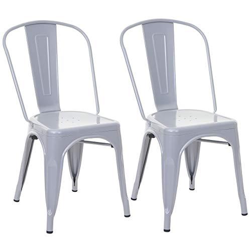 Mendler 2X Stuhl HWC-A73, Bistrostuhl Stapelstuhl, Metall Industriedesign stapelbar - grau