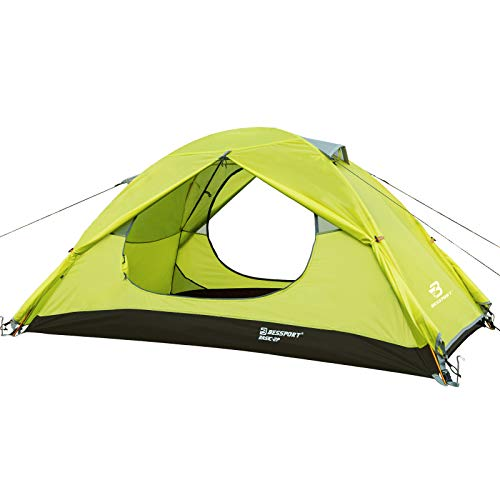 Bessport 1-Personen-Campingzelt, leichtes wasserdichtes Doppelschicht-Kuppelzelt, zweitüriges Zelt mit Tragetasche Einfach aufzubauen, für Camping, Wandern.