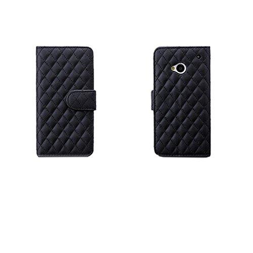 iCues HTC One M7 Acolchado Bolso de la Aleta Negro | [Protector de Pantalla, Incluyendo] Cuero - Libro con bisagras Cubierta de folletos Funda Carcasa Bolsa Cover Case