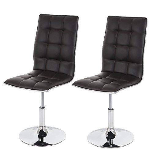 Mendler 2X Esszimmerstuhl HWC-C41, Stuhl Küchenstuhl, höhenverstellbar drehbar, Kunstleder ~ braun