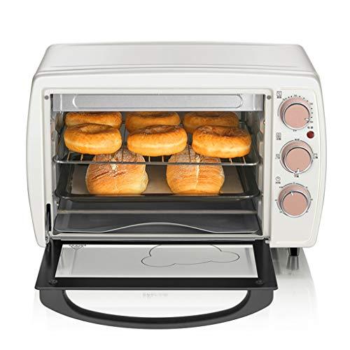 Retro Mini-oven, 2-laags, 20 liter, kleine elektrische oven, 1200 W, voor het slapen, warm houden en stoom, oven, grill, broil, roestvrijstaal, wit
