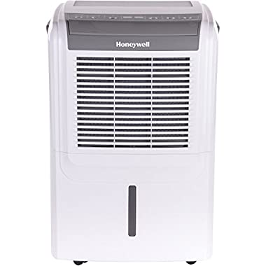 Honeywell DH50W Energy Star Dehumidifier for Basement & Roomsup To 3000 sq. ft. with Washable Air Filter to Remove Odor, Anti-Spill Design & Continuous Drain, 50 pint, White/Gray