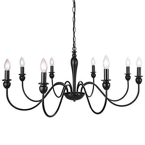 ASHUAQI Modern Klassische Kerze Kronleuchter Schwarz, 8 flammig Pendelleuchte Esstisch, Verstellbare Kette Vintage Hängeleuchte für Wohnzimmer, Küche, Esszimmer, Schlafzimmer, Flur