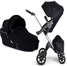 Stokke Xplory V6 Silver Chassis Stroller with Black Leatherette Handle, Black with Carry Cot