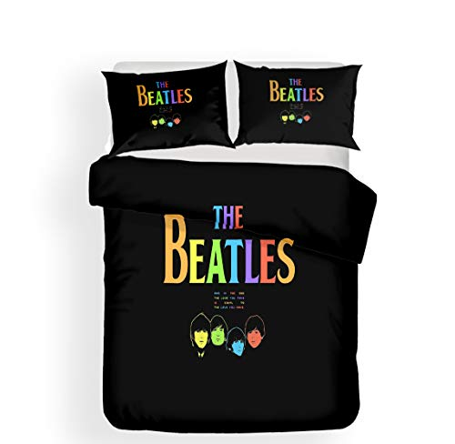 Earendel Fundas Nórdicas Beatles Juego De Ropa De Cama Banda De Rock Británica Colcha 2/3/4PCS Fundas De Edredón Nórdico/Almohada/Sábanas,para Cama 90/135/150/180 (Cama 80/90(140×210cm)-3PCS,1)