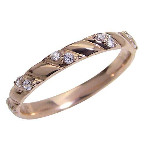 [ジュエリーアイ] ゴールドK18 ダイヤモンドリング 天然ダイヤモンド ピンキーリング diaring 指輪 贈り物 ギフト 3.5号 ピンクゴールドK18