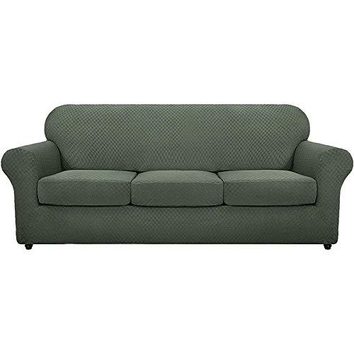 B/H Tejido elástica Cubiertas de sofá,Funda de sofá de Punto Grueso, Funda de sofá Completa-Verde_Cuatro Personas,Cubre Sofa Universal Tejido de Poliéster