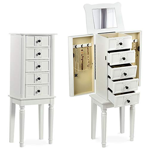 CHARMAID Standing Jewelry Cabinet Armoire with Top Flip Makeup Mirror, 4 Drawers, 2 Side Doors and 6 Necklace Hooks, Wood Storage Chest Cabinet with Large Top Compartments, Retro Jewelry Box (White)