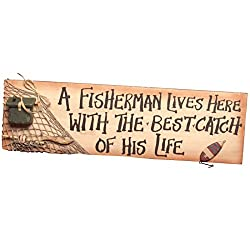 A Fisherman Lives Here | Large Home Decor Fishing Wall Art | 7 1/2 x 24 1/2 Inch