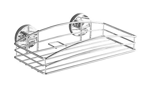 WENKO Vacuum-Loc® étagère droite - fixer sans percer, Acier, 26 x 6.5 x 14 cm, Chromé