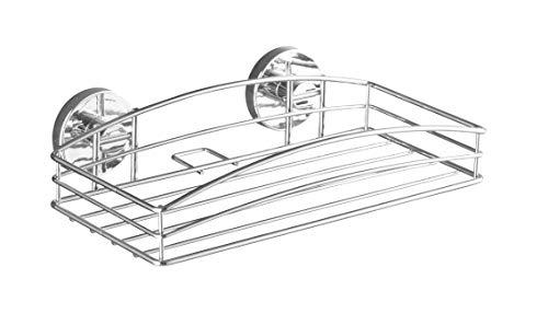 WENKO Vacuum-Loc Wandablage, Wandregal ohne bohren, Duschablage, Regal für Badezimmer und Küche, verchromtes Metall, 26 x 6,5 x 14 cm