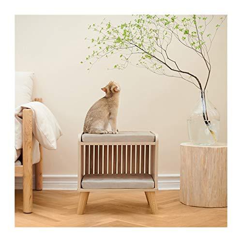 LXHONG Geschlossener Katzenstreu, Massivholz Katzenhaus, Luxus-Katzenvilla Zum Wohnzimmer Schlafzimmer, Einfach Zu Säubern (Color : Wood, Size : 50x45x50cm)