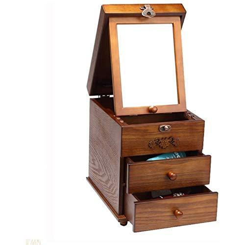 WYBFZTT-188 Caja de joyería - Estilo Femenino de Madera Antiguo cajón Caja de Almacenamiento Anillo Organizador Pulsera Caja de joyería portátil Forrado con Terciopelo