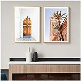 FUXUERUI Póster nórdico pintura en lienzo de la mezquita de Marrakech pintura de fachada marroquí sala de estar impresión del hogar arte decorativo - 40x60cmx2 sin marco