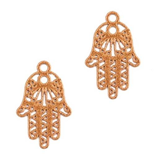 Sadingo Hamsa Hanger, hand van Fatima, DIY sieraden, hanger voor armband, ketting, oorbellen - 3 stuks - 17x11 mm
